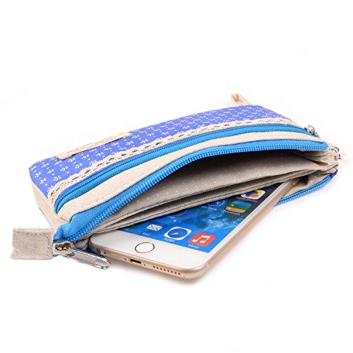 Bacio Oro (tm) Mini Borsa Del Telefono Mobile Con Pois Per Donne E Ragazze Blu Fiocco Di Neve Blu