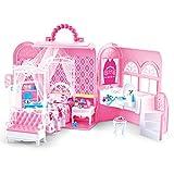 deAO 2-in-1 Rosa Tragbare Tragetasche Handtasche und Puppenhaus mit Princess Deluxe...