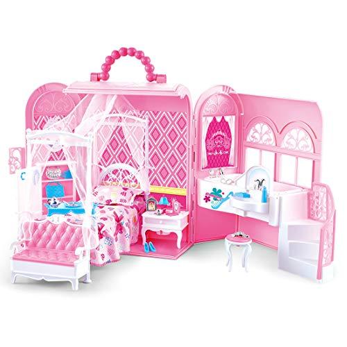 deAO 2 en 1 Caisse Transportable et Chambre de Poupée Princesse Deluxe avec Meubles (Poupée Non Incluse)