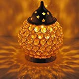 #3: Brass & Gifts Akhand Diya Decorative Brass Oval Shaped Crystal Oil Lamp Tea Light Holder Lantern, 4.5-inch(Gold and White)