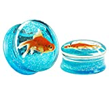 KUBOOZ (1 Paar) transparente Acryl Fisch Blue Ocean Ohr Plugs Tunnel Messgeräte trage Piercings