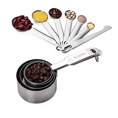 Measuring Cups & Messlöffel mit Meßlineal Set von 11, Apicallife Edelstahl Messbecher Messlöffel Für Trockene und Flüssige Zutaten, Silber