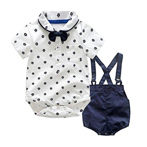 erthome Kinder Baby Jungen Sommer Gentleman Bowtie Shirt Strampler + Hosenträger Shorts Set, Baby Kleidung (Weiß, 12-24 Monate)