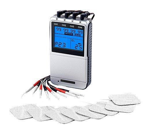 Med-Fit Premier EV906 Máquina de estimulación y estimulación muscular TENS de 4 canales con ajuste manual de 24 programas preestablecidos
