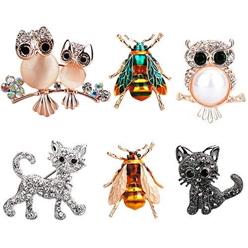 Kostüm Party Datum - TsunNee Owl Crystal Brosche, Hochzeit Party Kleidung Brosche, Strass Schal Pin, Kostüm Abzeichen, Bumble Bee Cat Brosche, 6 Stück