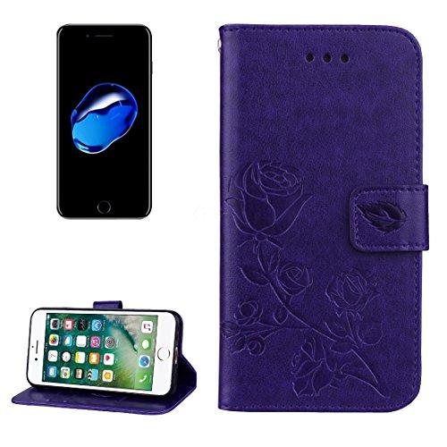 Wkae Roses gepresstes Blumen-Muster-Schlag-Leder-Kasten mit Halter u. Karten-Schlitzen u. Mappe für iPhone 7 iPhone 8 ( Color : Purple ) Purple