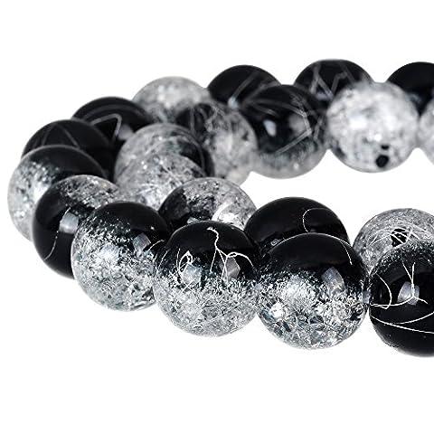 Rubyca rond craquelé druk Cristal Tchèque pressé Perles de verre pour fabrication de bijoux, Mèche, Cristal, noir et blanc, 8 mm