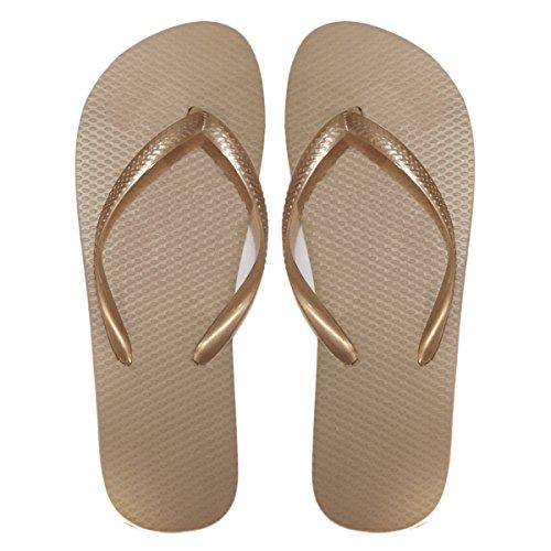 SUGAR ISLAND Dames Filles Hommes été Plage Flip Flop Tongs Piscine chaussures-ROSEGOLD-5/6