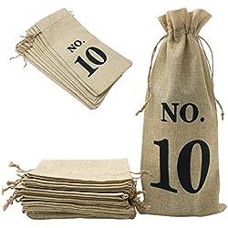 Shintop Lot de 10 sachets en toile de jute pour bouteille de vin avec cordon de serrage pour dégustation de vin aveugle (numéroté, marron)