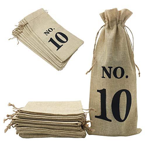 Shintop 10 bolsas de yute para vino, 14 x 6 1/4 pulgadas, bolsas de regalo para botella de vino de arpillera con cordón para degustación de vino ciego (numerado, marrón)