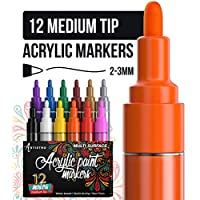 Artistro Paint Pens for Rock Painting, Ceramic, Porcelain, Glass, Wood, Fabric, Canvas. Best for DIY Mug, Rock Painting. 12 Permanent Acrylic Paint Markers, Medium Point tip