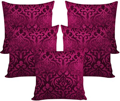 Xarans Velvet Floral Purple Cushion Cover Se of 5 Pcs (40x40cms)