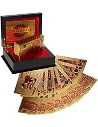 99,9% Reines 24 Karat Gold 54 Poker Karten fürs Kartenspiel von Kurtzy - Pokerkarten Spielkarten mit Euro Design und Echtheitszertifikat - Luxuriöses Schwarzes Professionelles Etui mit Veloureinsatz