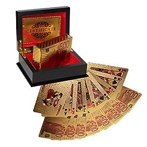 Zertifizierte 24K Vergoldete Spielkarten Goldfolie Pokerkarten Kartenspiel, 54 Spielkarten mit Euro Design 24 Karat Gold und Echtheitszertifikat in einer Präsentation Geschenkbox – Poker Karten