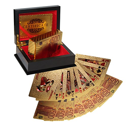 Kurtzy Zertifizierte 24K Vergoldete Spielkarten Goldfolie Pokerkarten Kartenspiel, 54 Spielkarten mit Euro Design 99,9% Reines 24 Karat Gold und Echtheitszertifikat in einer Präsentation Geschenkbox - Poker Karten, Playing Cards