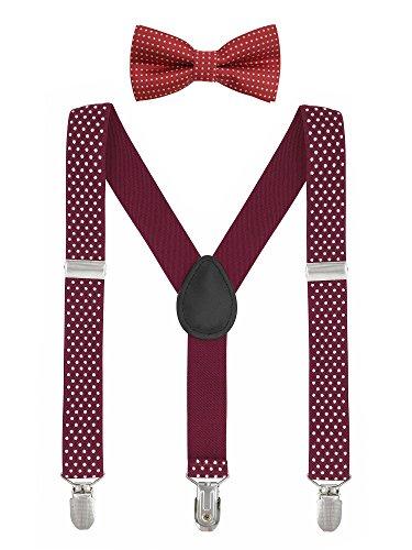 Baby Kinder Hosenträger mit Fliege Punkte Elastisch Gürtel 3 Clips Y-Form Jungen Mädchen Hosen Röcke Tutu Shorts Suspender - Burgund Rot (Rote Hosenträger Baby)
