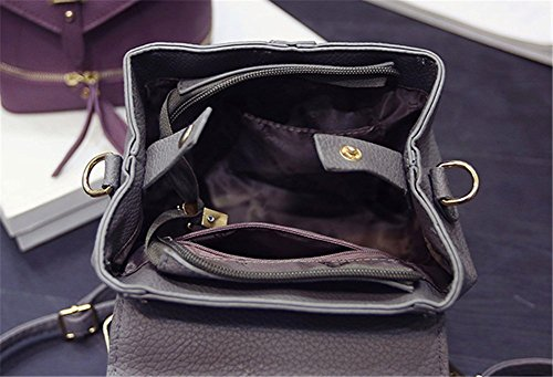 Tellw Womens Girls Leisure Travel shopping zaino, Donna, Black, 18*19*12cm Dark Pink