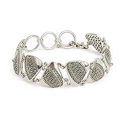 Idea Regalo - Stile Etnico-Braccialetto in Argento Sterling artigianale cerato, gioielli in argento etnico e artigianale)