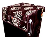 Kanushi Industries Floral Design Fridge Top Cover with 6 Utility Pockets (Brown Color)