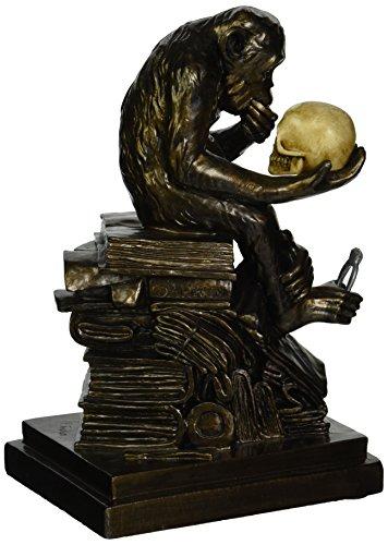 Design Toscano Charles Darwins Affe-Mensch-Evolution Tierstatue, Polyresin, Bronze-Finish, 20,25 cm