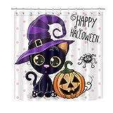 hdrjdrt Halloween Cartoon Nero Carino Gatto Viola Cappello Giallo Zucca Ragno Doccia Tenda Bagno Tenda Decorazione Tessuto Impermeabile