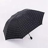Aiwo Einfache Gitter schirme Sonnenschutz Sonnenschirme falten Regen und Regen dual-use-Regenschirm Koreanischen männliche Frische vinyl Regenschirm, schwarz