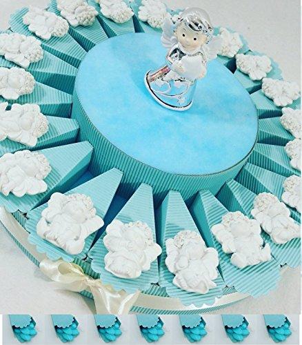 Bomboniere comunione battesimo cresima con torta bomboniera spedizione gratis (torta maschietto 20 angioletti e angelo centrale)