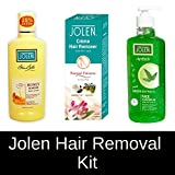 Jolen Hair Removal Kit - (Aesthetic Neem Cleansing Gel + Hair Removal Cream, Sandal + Almond Body Lotion) Amazon