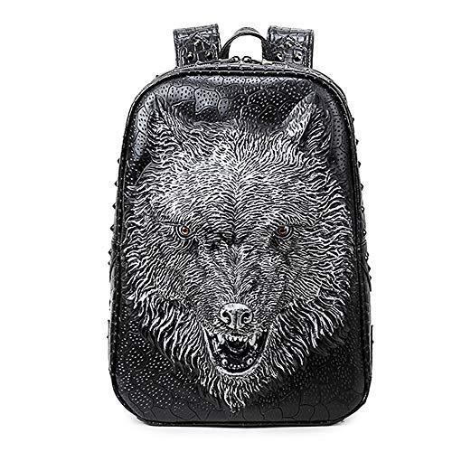 Elegantes Mochilas 3D, Estilo Gótico Wolf Head Mochila, Bolsos De Escuela De Cuero De PU para Laptop, Bolsas De Hombro Especiales para Chicas Adolescentes