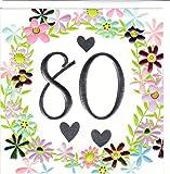 Wendy Jones-Blackett Fresco Glückwunschkarte zum 80. Geburtstag - veredelt durch Prägung und Folienauflage WJ244
