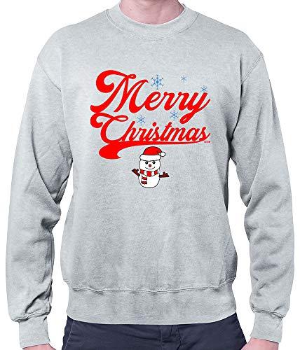 HARIZ Herren Pullover Weihnachten Merry Christmas Stadt Weihnachten Weihnachts Schnee Liebe Inkl. Geschenk Karte Hell Grau S