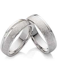 Eheringe Verlobungsringe Trauringe aus 925 Silber mit einem Swarovski Diamant und kostenloser Gravur SPB43
