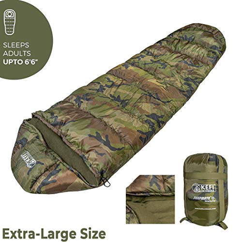 Kefi Outdoors Camo Sleeping Bag, Temperature -10 to 0°C, 1600 g (Camo)