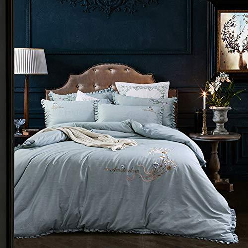 Europäische Baumwolle Bestickt Bett Rock Vier Sätze von Baumwolle super weiche Quilt Bettwäsche doppelte Kapuze mit Reißverschluss,Green,98
