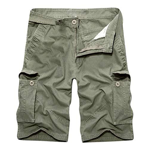 Cargo Shorts Herren Sommer Neu Baumwolle Multi-Pocket Workwear Kurze Hosen GreatestPAK,Armeegrün,40