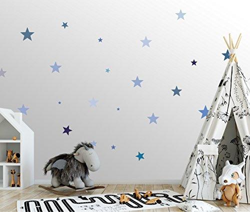 50 Sterne Wandtattoo fürs Kinderzimmer - Wandsticker Set - Pastell Farben, Baby Sternenhimmel zum Kleben Wandaufkleber Sticker Wanddeko - Wandfolie für Kleinkinder, Erstausstattung auf Rauhfaser Blau