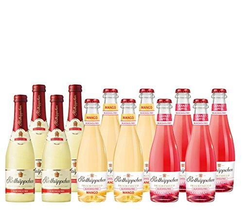 Mix-Set Rotkäppchen 12 a 200 ml Flaschen Fruchtsecco Alkoholfrei Rotkäppchen Unbeschwerter Genuß,Rotkäppchen Mango un Rotkäppchen Granatapfel