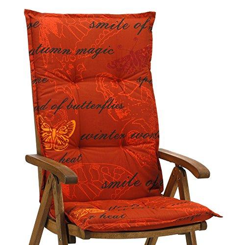 Hochlehner Auflagen 120 cm Terrakotta mit Schmetterlingen Ibiza 40240-440 ohne Sessel