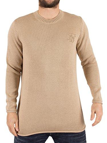 Sik Silk Homme Raw Edge côtelé Neck Logo Knit, Beige Beige