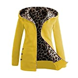 iHENGH Neujahrs Karnevalsaktion Damen Herbst Winter Bequem Mantel Lässig Mode Jacke Frauen Plus Samt Dicker Kapuzenpulli Leopard Zipper Coat Overcoat Outwear