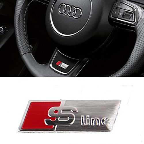 Emblema adesivo logo sticker per volante Audi S LINE SLINE S-LINE, argento.