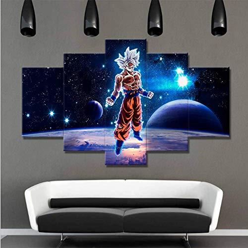 QJXX Leinwanddrucke 5 Stück Cartoon Dragon Ball Goku Bild Kunstwerke Modern Home Wand Dekor Kunst HD Print Gerahmt,30X40x230x60x230x80x1 -