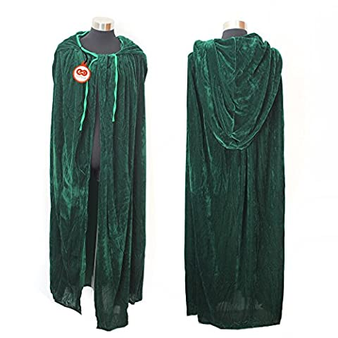 Green Witch Cloak Cape Costume with Hooded Long Velvet for Halloween Cosplay Role Play Party