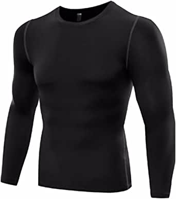 Men's Sport Long Sleeve T-Shirt Cool Dry Compression Top Long Sleeve