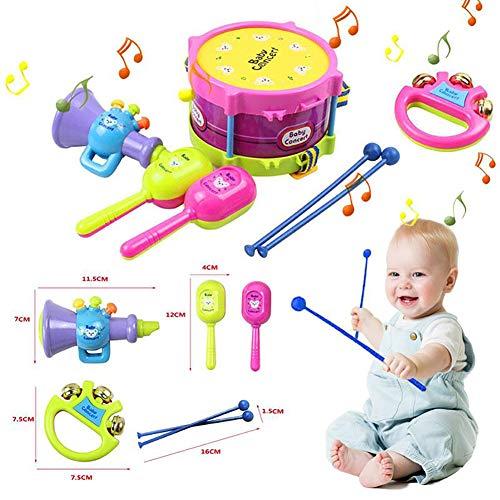 5 Stück bunte Mini-Musikinstrumente Jazz-Drums setzen Percussion Toys Baby-Erleuchtung (Sand Hammer, Rattle, Trommel Hammer, Trommel, Lautsprecher Spielzeug)