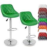 TRESKO 2er Set Barhocker Barstuhl 10 Farben wählbar, 360° frei drehbar, Sitzhöhenverstellung 60-80cm (grün)