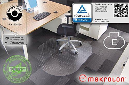 """Transparente Bodenschutzmatte, 120 x 150 cm, Sonderform \""""E\"""", aus Makrolon®, Schutzmatte mit Noppen für Teppichböden, 17 weitere Größen wählbar"""