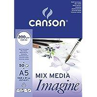 Canson Imagine - Bloc papel de dibujo, A5-14,8 x 21 cm, color blanco puro