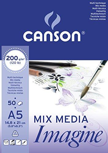 Canson 200006009 - Carta da disegno, A5, 200 g, blocco da 50 fogli