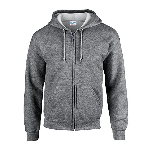 Gildan - Kapuzen-Sweatjacke 'Heavyweight Full Zip' / Graphite Heather, XL Full Zip Sweatshirt Jacke